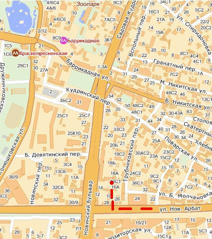 Посольство США в Москве: Схема проезда.