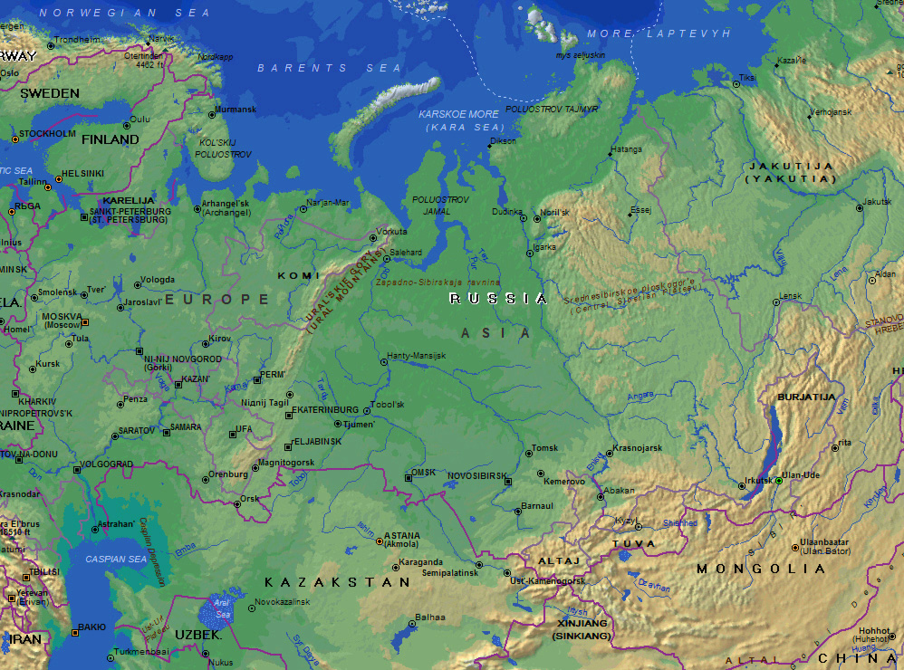 Ural Mountains Russia Map